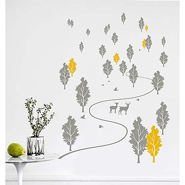 Pop Decors Trees and Deer Forest Wall Mural; Grey