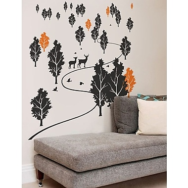 Pop Decors Trees and Deer Forest Wall Mural; Black