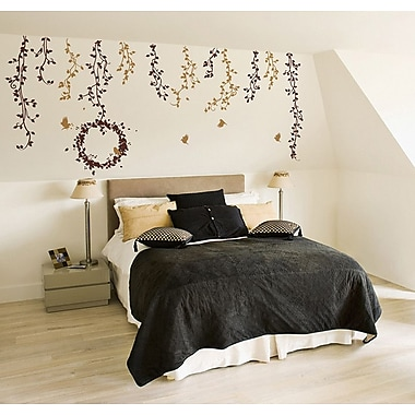 Pop Decors Vines Flying Birds Wall Decal; Brown