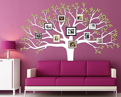 Pop Decors Family Photo Tree Wall Decal; White & Green