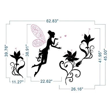 Pop Decors Fairy and Flowers Wall Decal; Black and Light Pink
