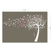 Pop Decors Floating Flowers Tree Wall Decor; White, Hot Pink, Pink and Azure Blue