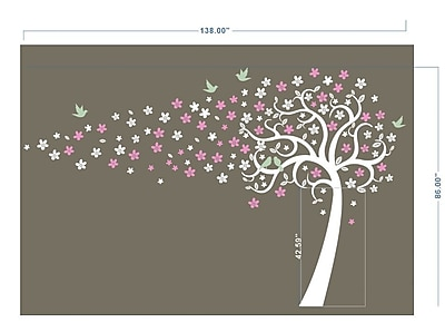 Pop Decors Floating Flowers Tree Wall Decor; White, Pink and Powder Blue