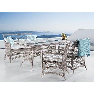 Meubles de patio en osier Barletta table, banc et chaises