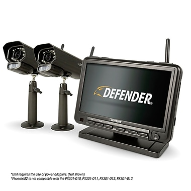 "Defender PHOENIXM2 Digital Wireless 7"" Monitor DVR Security System with 2 Night Vision Cameras (PHOENIXM22C)"