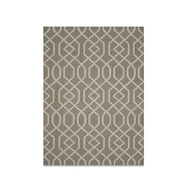 DecorShore Aroa Wave Hand-Tufted Beige Area Rug; 5' x 7'