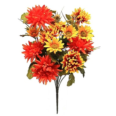 ZiaBella Decorative Mixed Flower Bush w/ Faux Leaves
