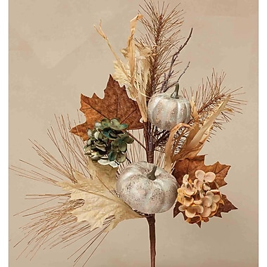 ZiaBella Decorative Spray w/ Faux Pumpkins, Hydrangea Heads, Leaves and Twigs
