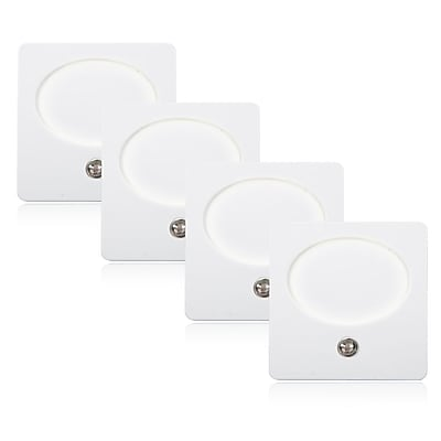 Maxxima LED Night Light With Dusk To Dawn Sensor (Pack of 4), 7.3 x 5.8 x 1.3 (MLN17-4)