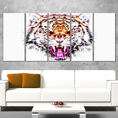 Ferocious Feline Animal Metal Wall Art, 60x28, 5 Panels, (MT2368-401)