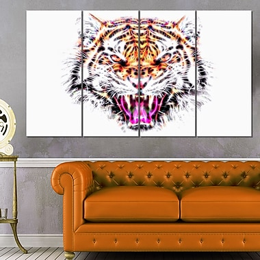 Ferocious Feline Animal Metal Wall Art, 48x28, 4 Panels, (MT2368-271)