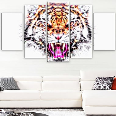 Ferocious Feline Animal Metal Wall Art, 60x32, 5 Panels, (MT2368-373)