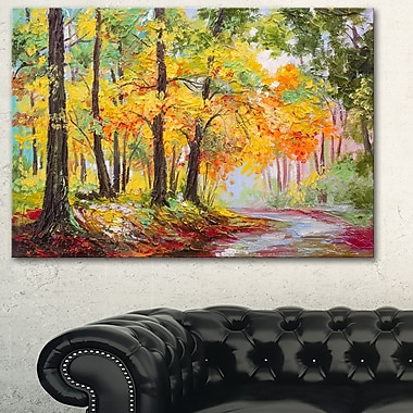 Colourful Autumn Forest Landscape Metal Wall Art, 28x12, (MT6016-28-12)