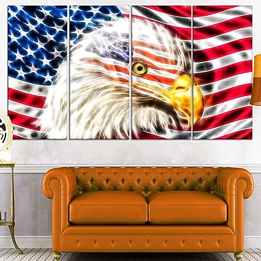 Land of the Free Eagle Metal Wall Art, 48x28, 4 Panels, (MT2400-271)