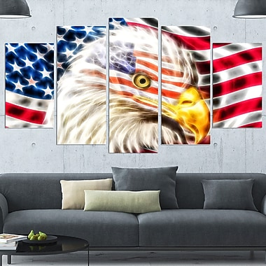 Land of the Free Eagle Metal Wall Art, 60x32, 5 Panels, (MT2400-373)