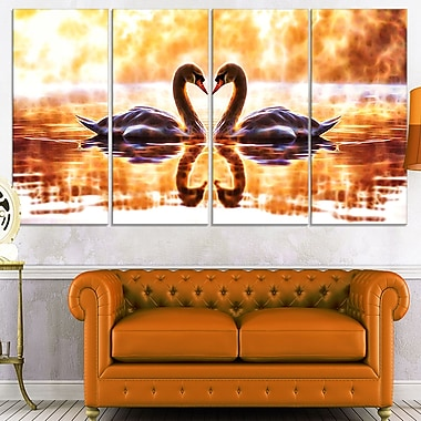 Swooning Swans Romantic Swan Metal Wall Art, 48x28, 4 Panels, (MT2408-271)