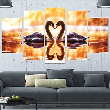Swooning Swans Romantic Swan Metal Wall Art, 60x32, 5 Panels, (MT2408-373)