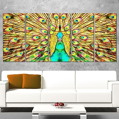 Flashy Feathers Peacock Metal Wall Art, 60x28, 5 Panels, (MT2414-401)