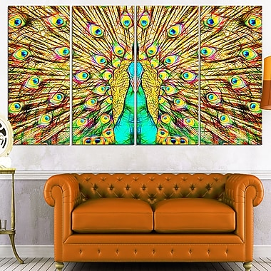 Flashy Feathers Peacock Metal Wall Art, 48x28, 4 Panels, (MT2414-271)