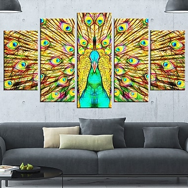 Flashy Feathers Peacock Metal Wall Art, 60x32, 5 Panels, (MT2414-373)
