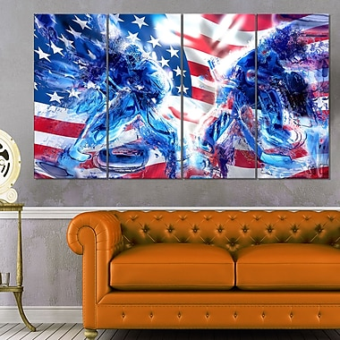 Hockey USA Goalie Metal Wall Art, 48x28, 4 Panels, (MT2514-271)
