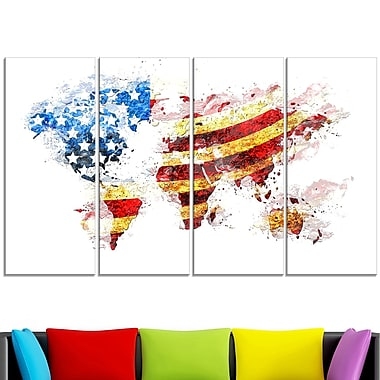 US Flag Across the Map Metal Wall Art, 48x28, 4 Panels, (MT2827-271)