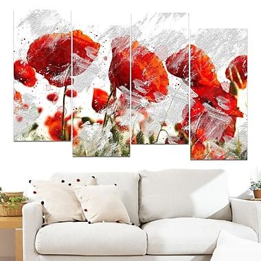Art mural en métal, bourgeons rouge orangé, 48 x 28, 4 panneaux (MT3432-271)