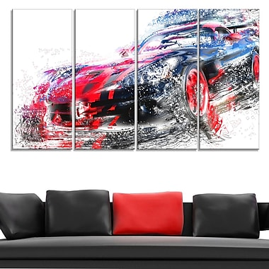 Red and Black Sports Car Metal Wall Art, 48x28, 4 Panels, (MT2638-271)