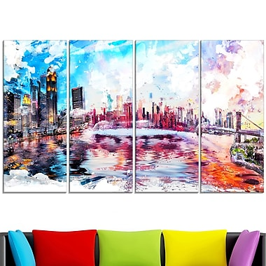 Colourfull NYC Cityscape Metal Wall Art, 48x28, 4 Panels, (MT2811-271)