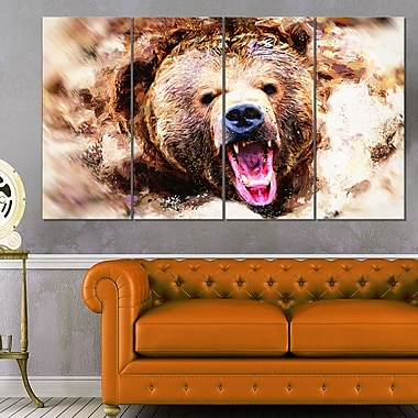 Grizzly Roar Animal Metal Wall Art