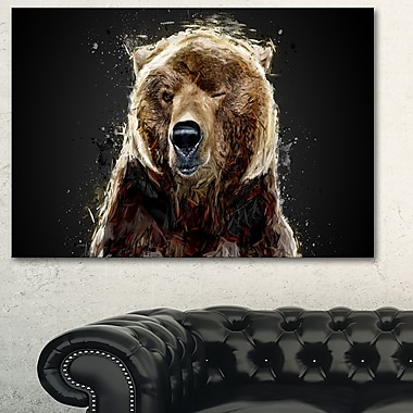 Ours brun animal art mural en métal, 28 x 12 (MT2301-28-12)