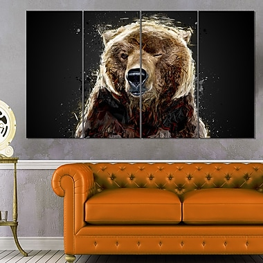 Ours brun animal art mural en métal, 48 x 28, 4 panneaux (MT2301-271)