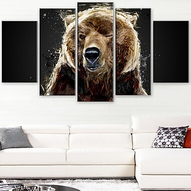 Brown Bear Animal Metal Wall Art, 60x32, 5 Panels, (MT2301-373)