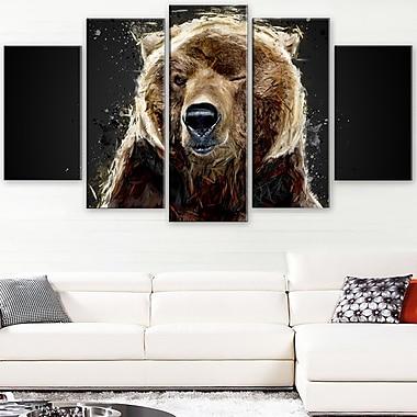 Ours brun animal art mural en métal, 60 x 32, 5 panneaux (MT2301-373)