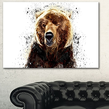 Brown Bear Animal Metal Wall Art, 28x12, (MT2302-28-12)