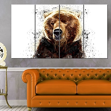 Brown Bear Animal Metal Wall Art, 48x28, 4 Panels, (MT2302-271)