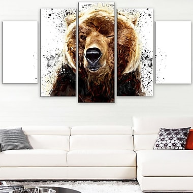 Brown Bear Animal Metal Wall Art, 60x32, 5 Panels, (MT2302-373)