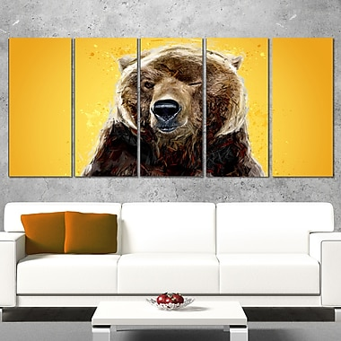 Brown Bear Animal Metal Wall Art, 60x28, 5 Panels, (MT2303-401)
