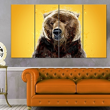 Brown Bear Animal Metal Wall Art, 48x28, 4 Panels, (MT2303-271)
