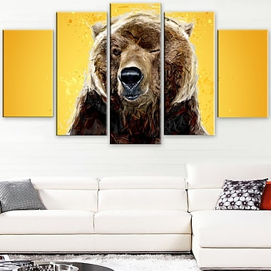 Brown Bear Animal Metal Wall Art, 60x32, 5 Panels, (MT2303-373)