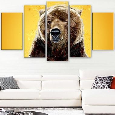 Ours brun animal art mural en métal, 60 x 32, 5 panneaux (MT2303-373)