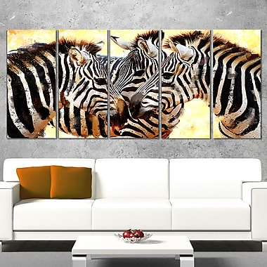 Zebra Trio Animal Metal Wall Art, 60x28, 5 Panels, (MT2304-401)