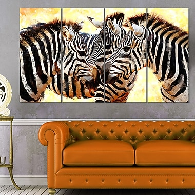 Zebra Trio Animal Metal Wall Art, 48x28, 4 Panels, (MT2304-271)