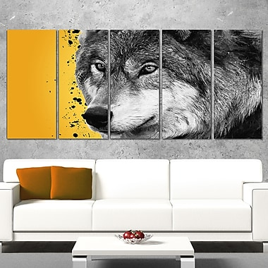 Gazing Wolf Animal Metal Wall Art, 60x28, 5 Panels, (MT2305-401)