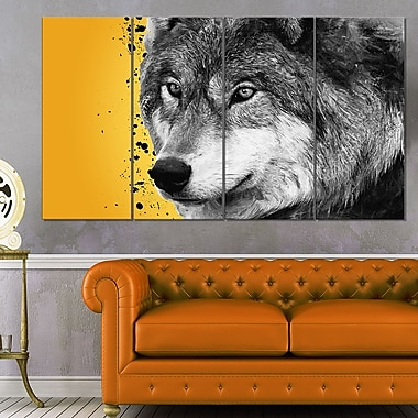 Gazing Wolf Animal Metal Wall Art, 48x28, 4 Panels, (MT2305-271)