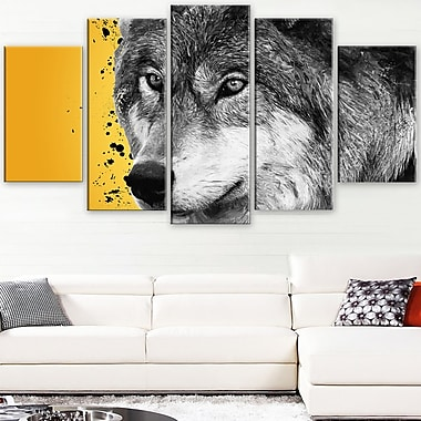 Gazing Wolf Animal Metal Wall Art, 60x32, 5 Panels, (MT2305-373)