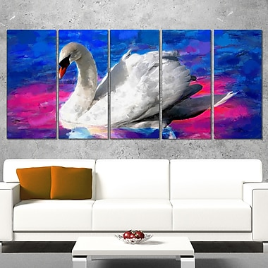 Swimming Swan Animal Metal Wall Art, 60x28, 5 Panels, (MT2306-401)