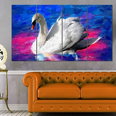 Swimming Swan Animal Metal Wall Art, 48x28, 4 Panels, (MT2306-271)