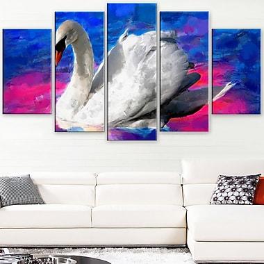 Swimming Swan Animal Metal Wall Art, 60x32, 5 Panels, (MT2306-373)