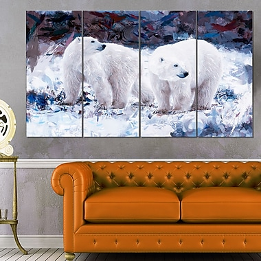 Polar Bear Pals Animal Metal Wall Art, 48x28, 4 Panels, (MT2307-271)
